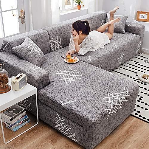 Skyout 2pcs L-Form Stretch Sofaüberwurf, Vier Jahreszeiten Universal Alles Schmutzresistent rutschfeste Stoff Möbel Protektor mit 2 Kissenbezüge, für Moderne Ecksofa Überzüge