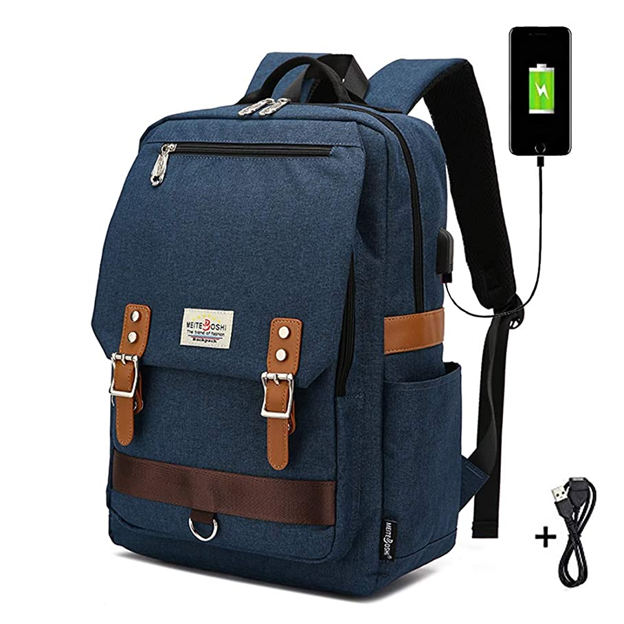 Durable Laptop Backpack,Travel Computer Bag for Women & Men, Canvas Waterproof Dirt-Resistant College School Bookbag with USB Charging Port, Fit for 15 Inch Laptop for Adult Students Teens(Navy) d683513096