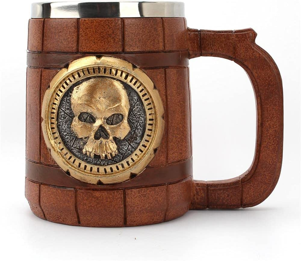 Niocaa Wooden All items in the store Import Beer Mug with Handle Barrel Handmade Mugs 20oz Sta