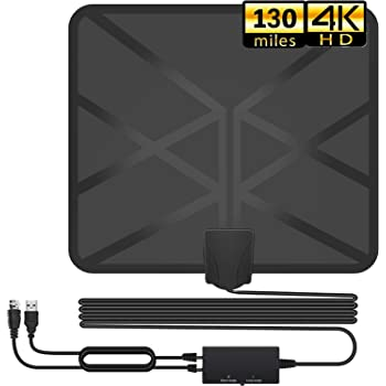 16.5Ft Coaxial Cable 4K 1080P Freeview Local Channels Wsky TV Antenna Digital HD Indoor TV Antenna with Amplifier Signal Booster 60-100Miles Long Range Indoor HD Antenna
