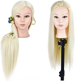 """ZMS 26"""" Professional Cosmetology Mannequin Head Styling Manikin Doll Head with Synthetic Fiber Blonde Hair Hairdressing Tr..."""