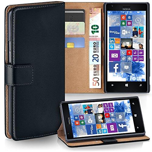 moex Premium Book-Hülle Handytasche kompatibel mit Nokia Lumia 1520 | Handyhülle mit Kartenfach & Ständer - 360 Grad Schutz Handy Tasche, Schwarz
