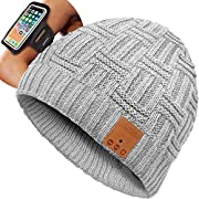 #LightningDeal GoldWorld Bluetooth Beanie Hat w/Armband,Gifts Women Mom Men Light Gray