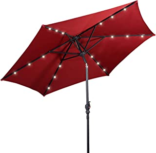 Giantex 9ft Market Patio Umbrella w/Solar Lights, Outdoor Table Umbrella w/Push Button Tilt and Crank, 180G Polyester and Sturdy Ribs, Sun Umbrellas for Market Garden Beach Pool (Burgundy)