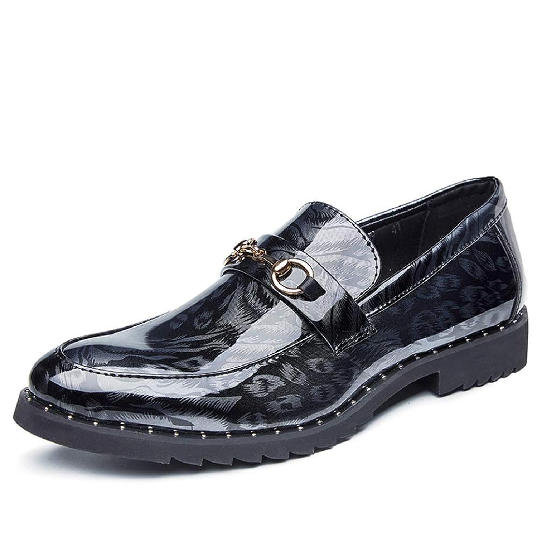 足のセットファッション ビジネス メンズビジネスオックスフォードファッション印刷はレジャー防水プラットフォームスリップ新しい単一の靴革の靴を色あせません 余暇 ハンサム 快適な (Color : Silver, サイズ : 27.5 CM)