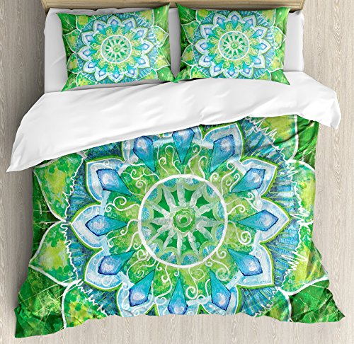 Ambesonne Mandala Duvet Cover Set, Grand Mandala with Leaf Forms of Nature and Theme Green Boho Style Print, Decorative 3 Piece Bedding Set with 2 Pillow Shams, Queen Size, Blue Green