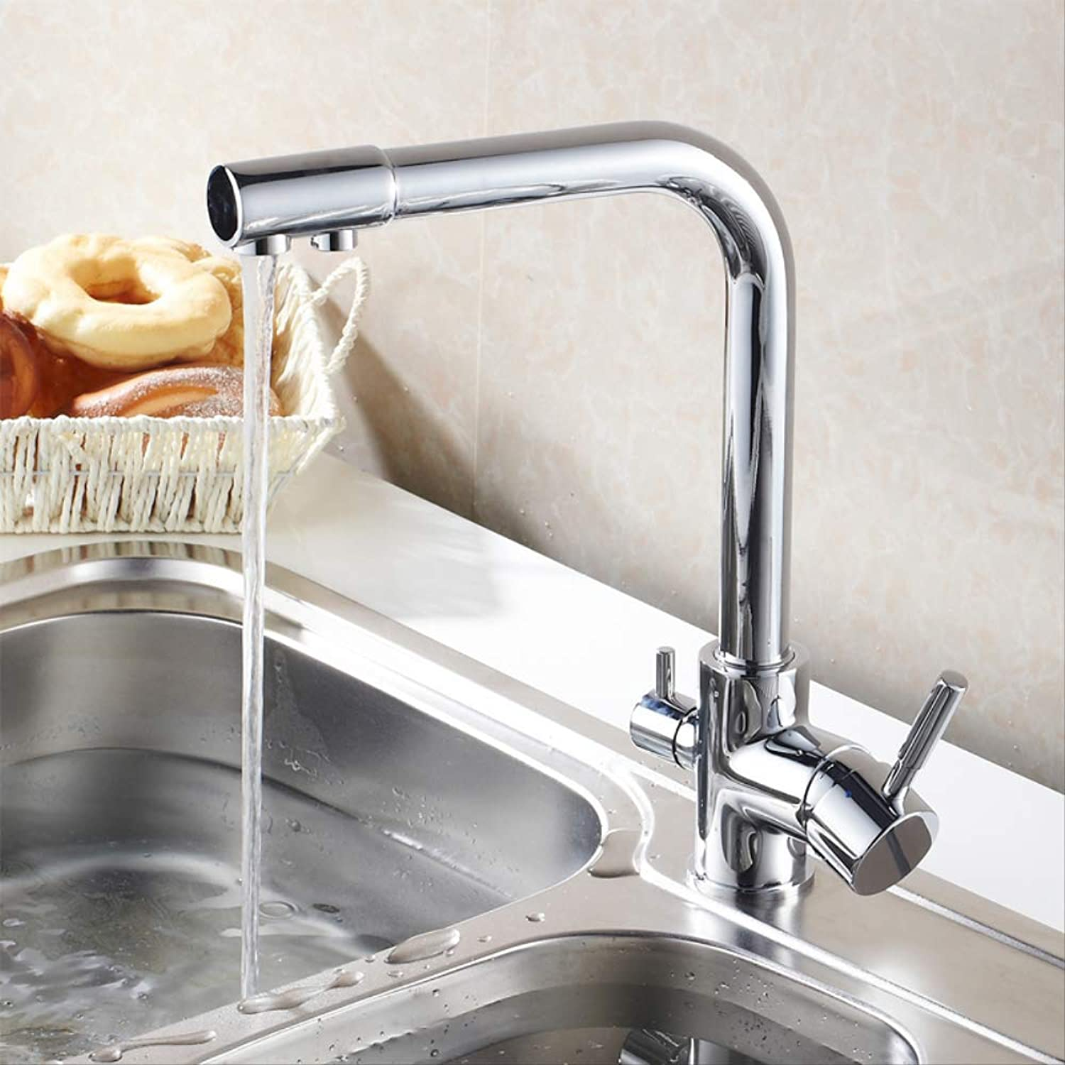 Copper Kitchen Hot and Cold Sink Faucet with Pure Washing Vegetable Basin Faucet Can redate Straight Drink Faucet
