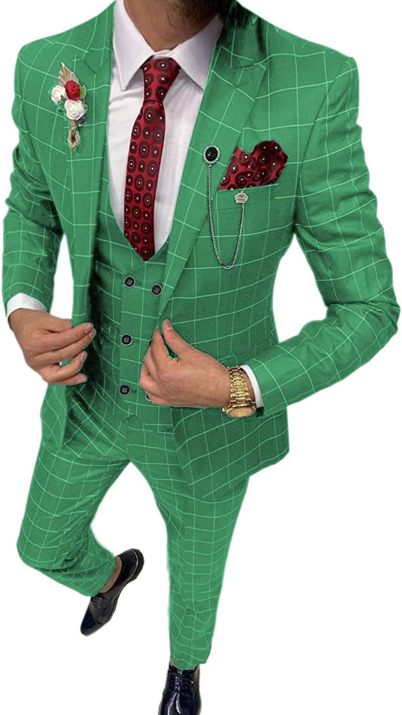 Zeattall Men's 3 Pieces Plaid Suit Summer Beach Groom Suits Slim Fit One Button Formal Wedding Tuxedos Jacket Pants Vest