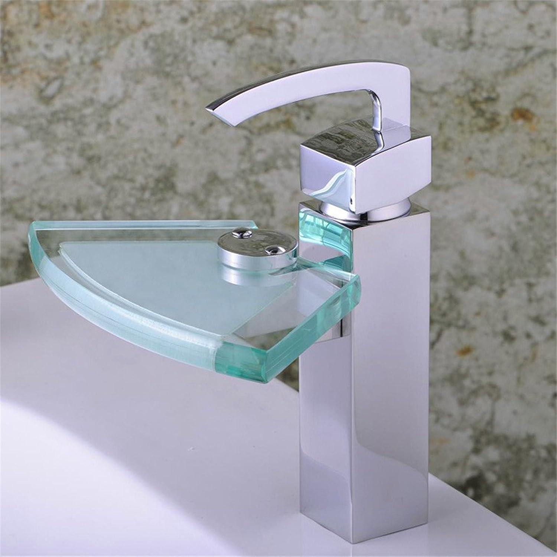 LaLF Europischer Wasserhahn Glas Wasserfall Wasserhahn Waschtischarmatur Einlochmontage Waschtischarmatur