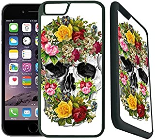 [TeleSkins] - Vintage Flower Skull Sugar Skull - Rubber TPU Case For iPhone 6 Plus / 6S Plus - Ultra Durable Slim Fit, Protective Plastic with Soft RUBBER Snap On Back Case / Cover for Girls.