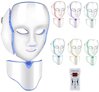 Facial Rejuvenation Skin Mask, 7 Color LED Masks Face Treatment Neck Skin Tightening Anti-wrinkle Whitening Beauty Machine for Home and Salon Use(US Plug)