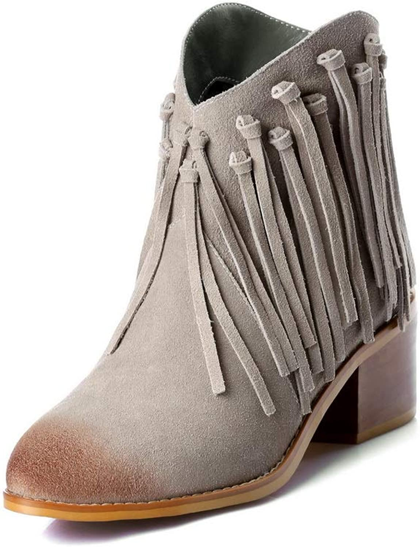 AdeeSu Womens Fringed Pleated Casual Urethane Boots SXE04281