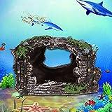 El tanque de peces decoraciones, Acuario Paisajismo Resina Musgo Árbol Rama de la Rama de la Rocosa Decoración Tortuga Escalada Plataforma Agujero Adornos para Tanque de Peces Pequeños Escond