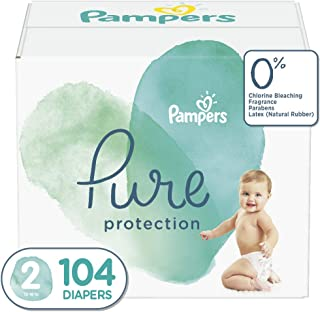 Diapers Size 2, 104 Count - Pampers Pure Disposable Baby Diapers, Hypoallergenic and Unscented Protection, Giant Pack
