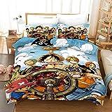 Yomoco - Juego de ropa de cama de One Piece, funda de edredón y funda de almohada, microfibra, impresión digital 3D, juego de cama de tres piezas, 06, Single 135x200cm
