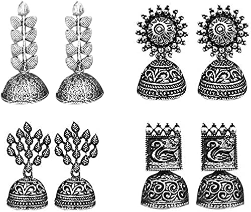 JewelMaze Traditional Jhumki Earrings Combo For Women and Girls - Set of 4