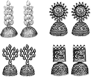 JewelMaze Oxidized Silver Earrings for Women (Combo Set of 4)