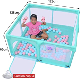 Baby Fence Play Area Prevent Rollover Breathable Playpens With Storage Bag Door Playard For Infant Toddlers Kids Indoor Outdoor Baby Products  Color Red  Size 128x128x66cm