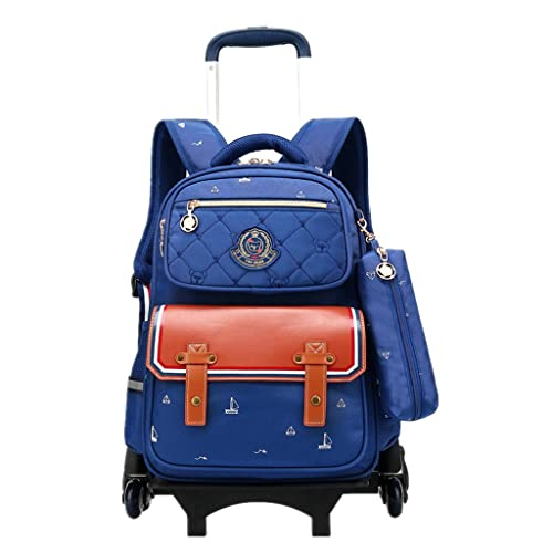 aad83f48ee8 Boys Girls Rolling School Backpacks - Kids 6 Wheeled Trolley Schoolbag  Waterproof Primary Children Bag Removable