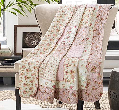 Cozyholy Original Design Coverlets Quilted Blanket 100% Cotton Bed Cover Quilt Throw for Sofa Couch Bed (Flower, Throw)