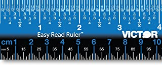 Victor EZ12PBL Plastic Dual Color 12 Easy Read Ruler with Inches, Centimeters and Millimeters Measurements, Blue/Black