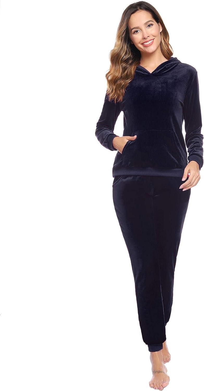 Pantaloni per Jogging Training Due Pezzi di Felpe Pullover Abollria Tuta Donna per Casa Tempo Libero Tuta da Ginnastica Sportiva Set Pigiama da Donna in Velluto