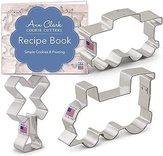 Ann Clark Cookie Cutters 3-Piece Train/Railroad Cookie Cutter Set with Recipe Booklet, Train Engine, Caboose, Railroad Crossing Sign