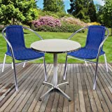 Marko Outdoor 3PC/5PC Bistro Sets Chrome Aluminium Frames Blue Wicker Rattan Seat Stacking Outdoor Garden Patio Cafe Restaurant Furniture (3PC Set with Round Table)