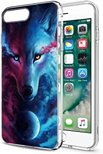 Yoedge Case for iPhone 7 Plus/iPhone 8 Plus, 2019 Phone Case Transparent Clear with Pattern [Ultra Slim] Shockproof Soft Gel TPU Silicone Back Cover Bumper Skin for iPhone 7 Plus/8 Plus (Wolf 2)
