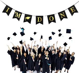 2019 Graduation Party Supplies Graduation Banner Burlap Sign I'm Done Grad Garland Pennant Graduation Favors Decoration for Home, College, Senior, High School Prom