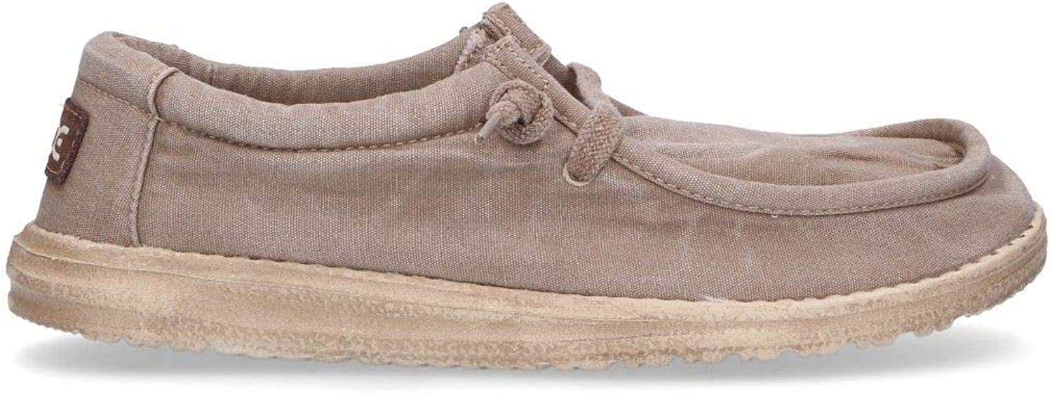 Hey Dude Men's WALLYCHES Beige Fabric Loafers