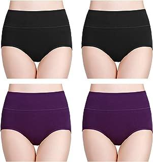 wirarpa Women's Cotton Underwear High Waist Full Coverage Ladies Briefs Panties Multipack