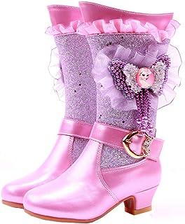 LOBTY filles princesse chaussures bottes chaussures de neige enfants paillettes bottes d'hiver avec doublure chaude bottes...