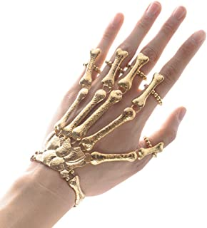 Lingduan Skull Fingers Metal Skeleton Slave Bracelet Ring Gothic Halloween Fashion Women Hand Chain