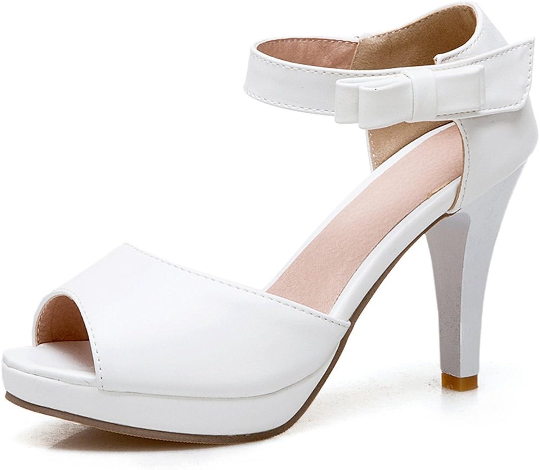 SaraIris Women's Peep Toe shoes Cute Bow Knot shoes Ankle Strap Dress Sandals