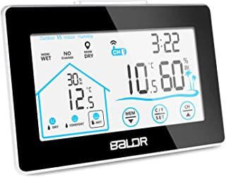 BALDR Indoor Outdoor Thermometer Digital Wireless Hygrometer Weather Station Wireless Temperature and Humidity Monitor with Current Time Backlight and Outdoor Sensor