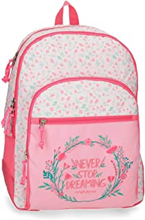 Movom Never Stop Sac à dos double compartiment adaptable au chariot Rose 33x44x13,5 cms Polyester 19.6L