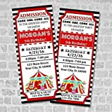 Circus Ticket Invitations, Circus Carnival Birthday Party Ticket Invitation, Custom Big Top Circus Party Tickets, Vintage Style Tickets, Matte Finish