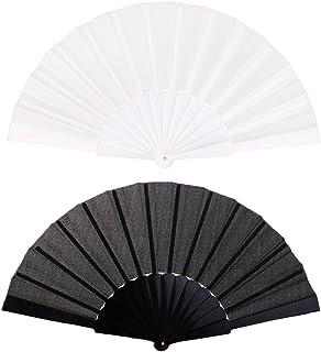 HOMYL 2/pack Vintage Solid Black & White Hand Fans Japanese Folding Fan