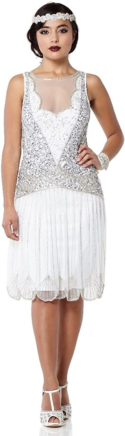 Gatsbylady london Elaina Vintage Inspired Drop Waist Flapper Dress in Off White
