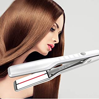 Hair Straighteners, Infrared Wide-faced Splint Ceramic Hair Straightener, Five-speed Adjustable Temperature, Wet And Dry, Dual-purpose Hair Straight,White