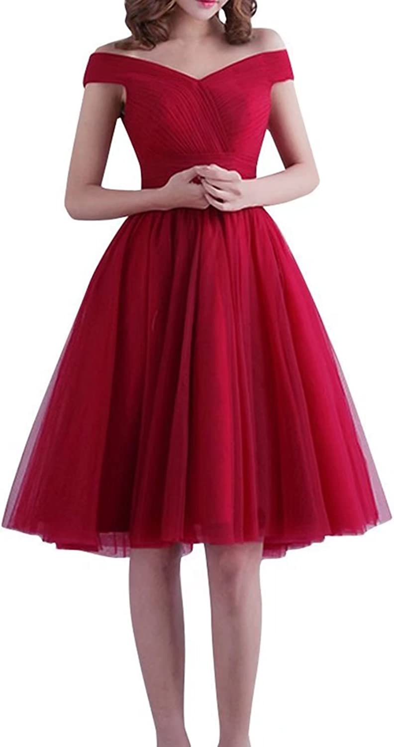 YOUTODRESS Women's Off Shoulder Lace Up Tulle Bridesmaid Dresses for Evening Gowns
