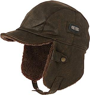 20caba896ac Siggi Pilot Cap for Men Winter Aviator Hat Adult Brown Leather Trapper  Trooper Hats Large XL