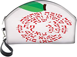 Half Moon Cosmetic Beauty Bag,Shana Tova Graphic of with Wishes on Plain Backdrop for Women & Girls School Travel Office