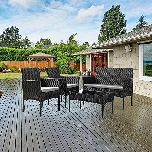 Mobilia da giardino in rattan, 4 pezzi, set di sedie, tavolo da esterno, patio nero