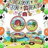 WERNNSAI Suministros para Fiesta de Cumpleaños de Granja - Decoraciones de Fiesta de Casa de Campo para Niños Cumpleaños Pancartas Globos Manteles Platos Servilletas Tazas Sirve 16 Invitados 89 PCS