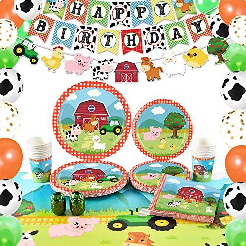 WERNNSAI Suministros para Fiesta de Cumpleaños de Granja - Decoraciones de Fiesta de Casa de Campo para Niños Cumpleaños Pancartas Globos Manteles Platos Servilletas Tazas Sirve 16 Invitados 8
