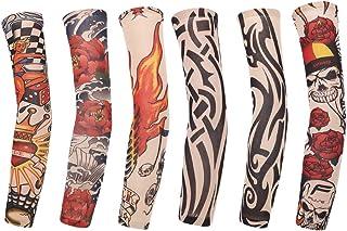 ABOOFAN 6 Pcs Tattooed Arm Sleeve Sun Block Sleeves Sun Prevention Sleeves for Men Women Outdoor Riding