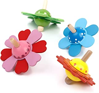 Blesiya Set 4 Colorful Painted Wooden Spinning Tops Traditional Kids Toy Party Bags
