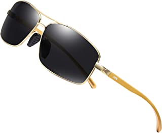 Classic Vintage Retro 80/'s Mens Small Air Force Style Rectangle Gold Sunglasses
